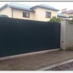Ворота откатные алюминиевые, цвет зеленый, ул. Надточеева, Могилев